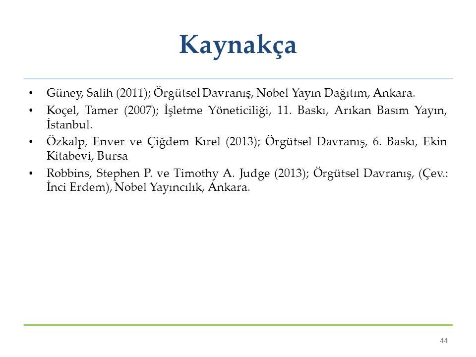 Kaynakça Güney, Salih (2011); Örgütsel Davranış, Nobel Yayın Dağıtım, Ankara. Koçel, Tamer (2007); İşletme Yöneticiliği, 11. Baskı, Arıkan Basım Yayın
