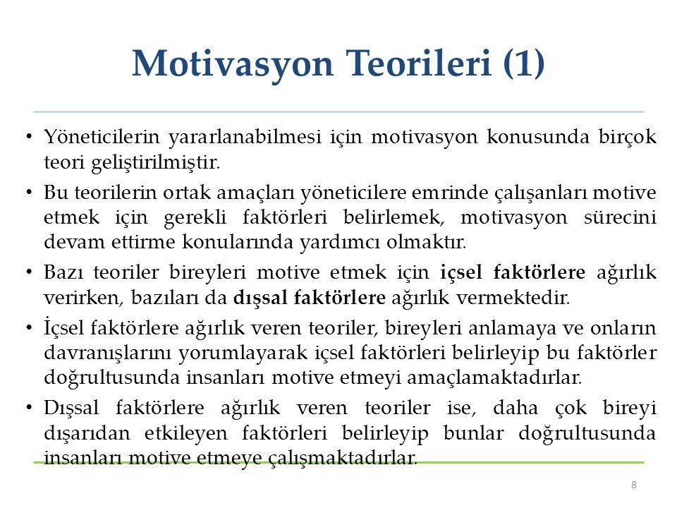 Motivasyon Teorileri (1) Yöneticilerin yararlanabilmesi için motivasyon konusunda birçok teori geliştirilmiştir. Bu teorilerin ortak amaçları yönetici