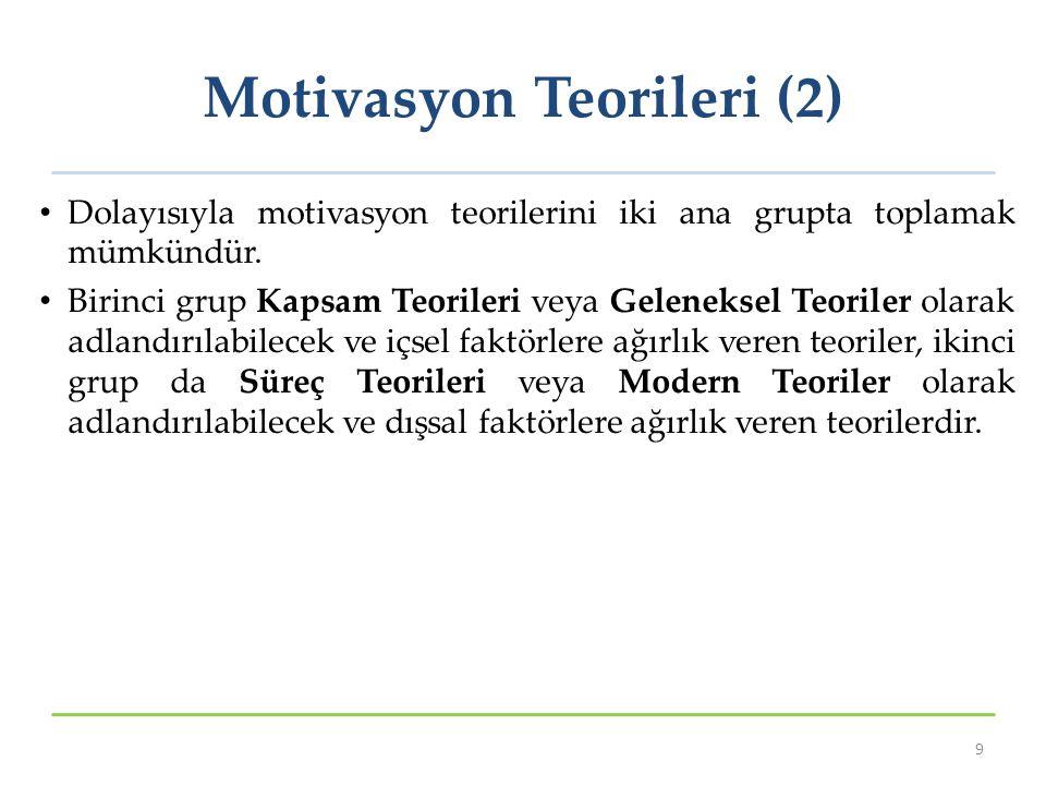 Motivasyon Teorileri (2) Dolayısıyla motivasyon teorilerini iki ana grupta toplamak mümkündür. Birinci grup Kapsam Teorileri veya Geleneksel Teoriler