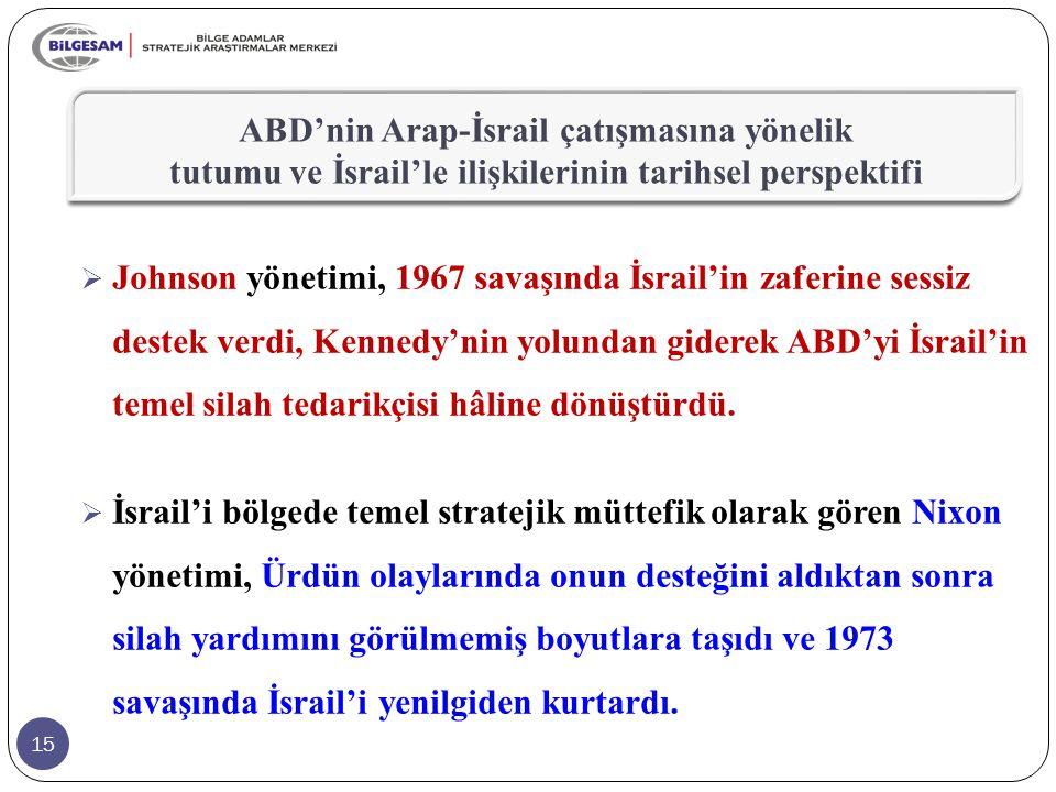 15  Johnson yönetimi, 1967 savaşında İsrail'in zaferine sessiz destek verdi, Kennedy'nin yolundan giderek ABD'yi İsrail'in temel silah tedarikçisi hâline dönüştürdü.