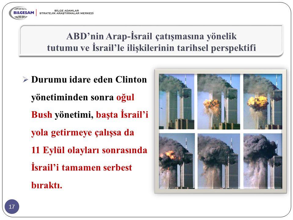 17  Durumu idare eden Clinton yönetiminden sonra oğul Bush yönetimi, başta İsrail'i yola getirmeye çalışsa da 11 Eylül olayları sonrasında İsrail'i tamamen serbest bıraktı.