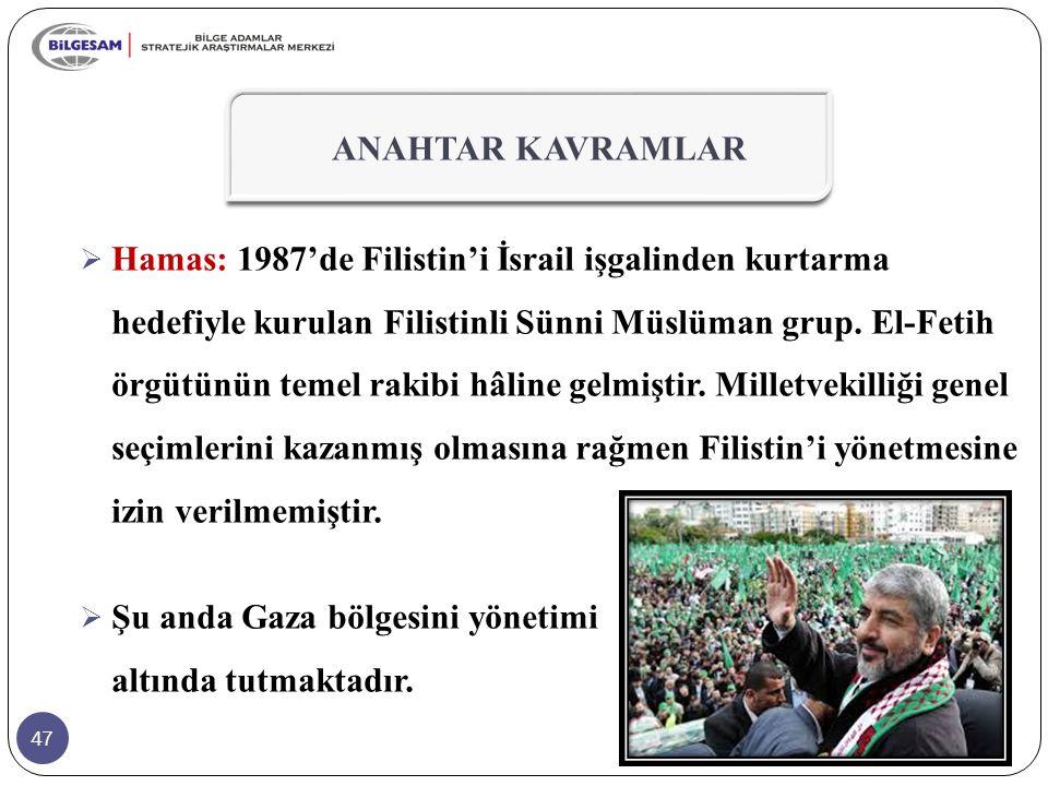 47  Hamas: 1987'de Filistin'i İsrail işgalinden kurtarma hedefiyle kurulan Filistinli Sünni Müslüman grup.