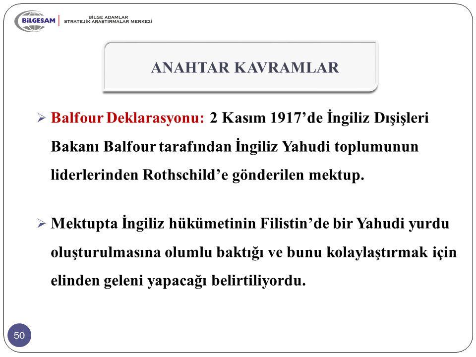50  Balfour Deklarasyonu: 2 Kasım 1917'de İngiliz Dışişleri Bakanı Balfour tarafından İngiliz Yahudi toplumunun liderlerinden Rothschild'e gönderilen mektup.
