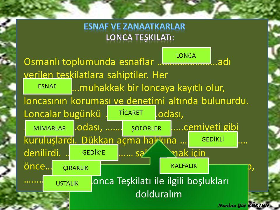 Osmanlı toplumunda esnaflar ……………………adı verilen teşkilatlara sahiptiler.
