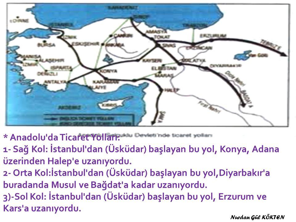 * Anadolu da Ticaret Yolları: 1- Sağ Kol: İstanbul dan (Üsküdar) başlayan bu yol, Konya, Adana üzerinden Halep e uzanıyordu.