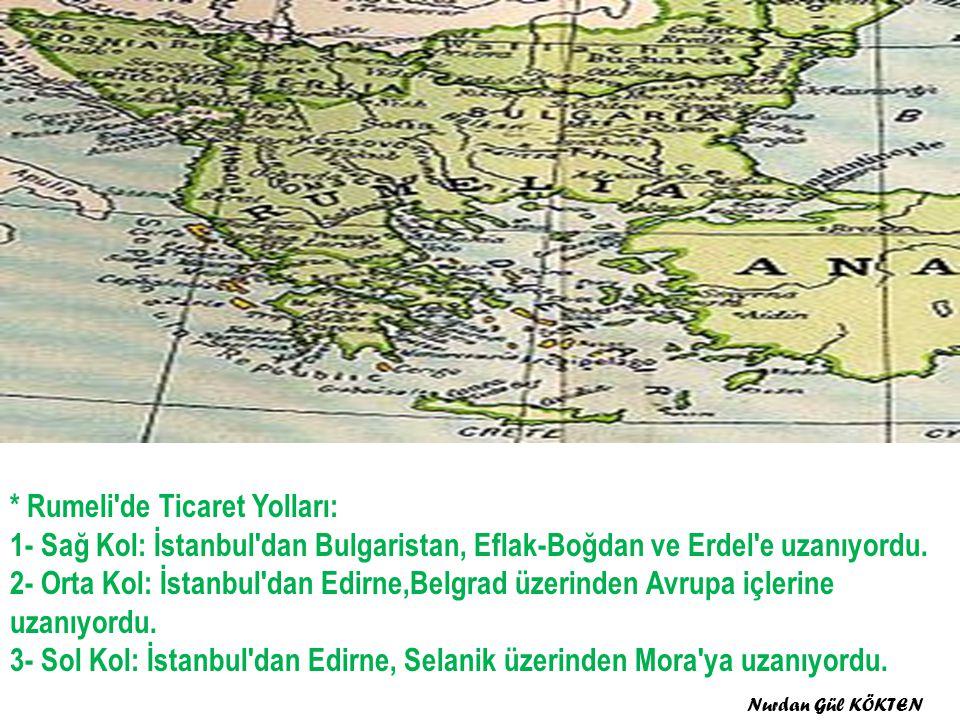 * Rumeli de Ticaret Yolları: 1- Sağ Kol: İstanbul dan Bulgaristan, Eflak-Boğdan ve Erdel e uzanıyordu.