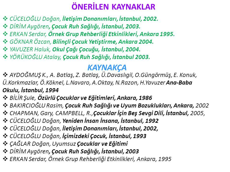 ÖNERİLEN KAYNAKLAR  CÜCELOĞLU Doğan, İletişim Donanımları, İstanbul, 2002.  DİRİM Aygören, Çocuk Ruh Sağlığı, İstanbul, 2003.  ERKAN Serdar, Örnek
