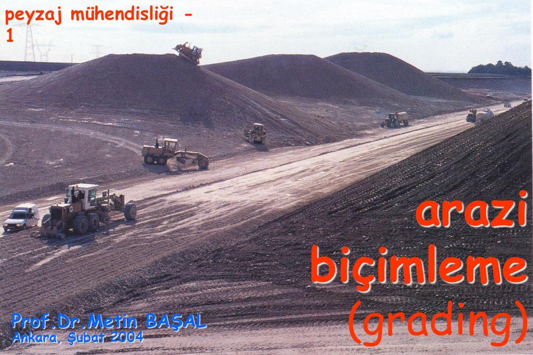 arazi biçimleme arazi biçimleme (grading) peyzaj mühendisliği - 1 Prof.Dr.Metin BAŞAL Ankara, Şubat 2004