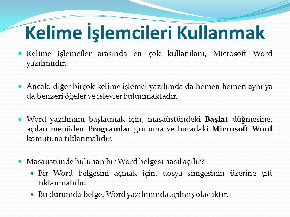 Kelime İşlemcileri Kullanmak Kelime işlemciler arasında en çok kullanılanı, Microsoft Word yazılımıdır.