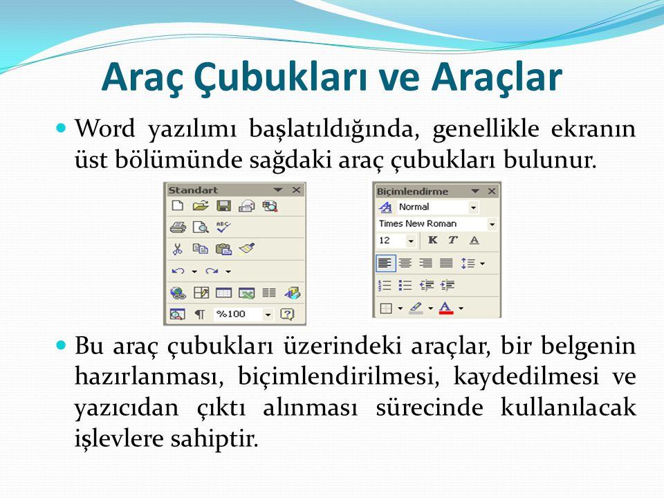 Araç Çubukları ve Araçlar Word yazılımı başlatıldığında, genellikle ekranın üst bölümünde sağdaki araç çubukları bulunur.