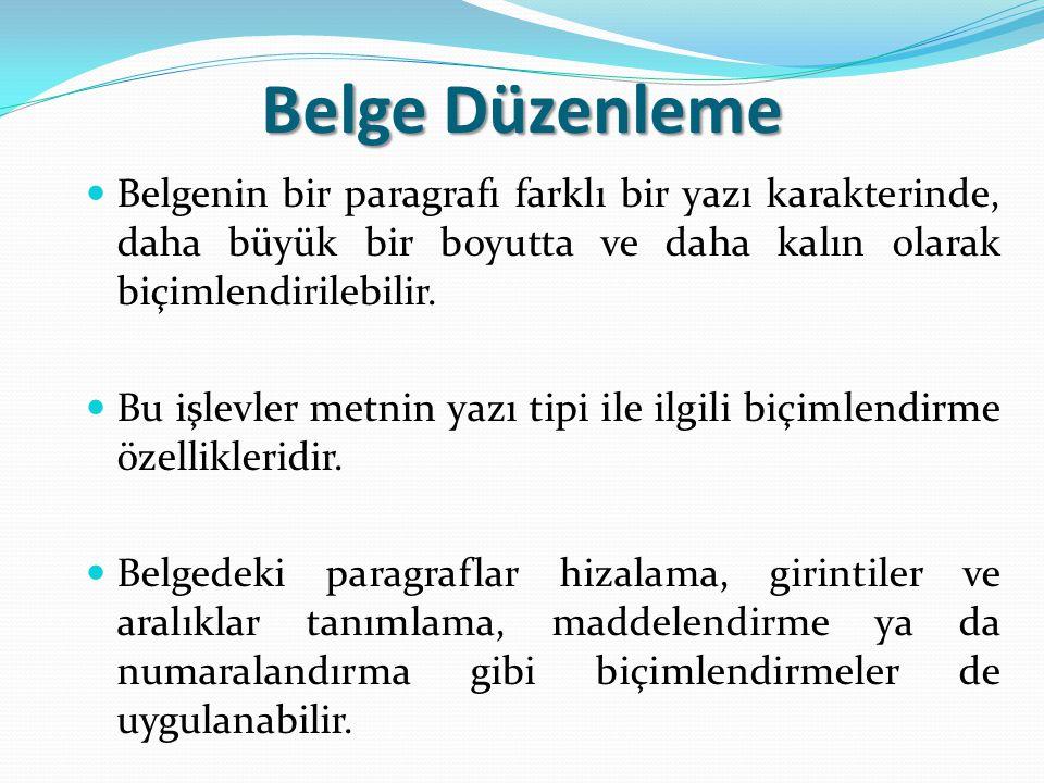 Belge Düzenleme Belgenin bir paragrafı farklı bir yazı karakterinde, daha büyük bir boyutta ve daha kalın olarak biçimlendirilebilir. Bu işlevler metn