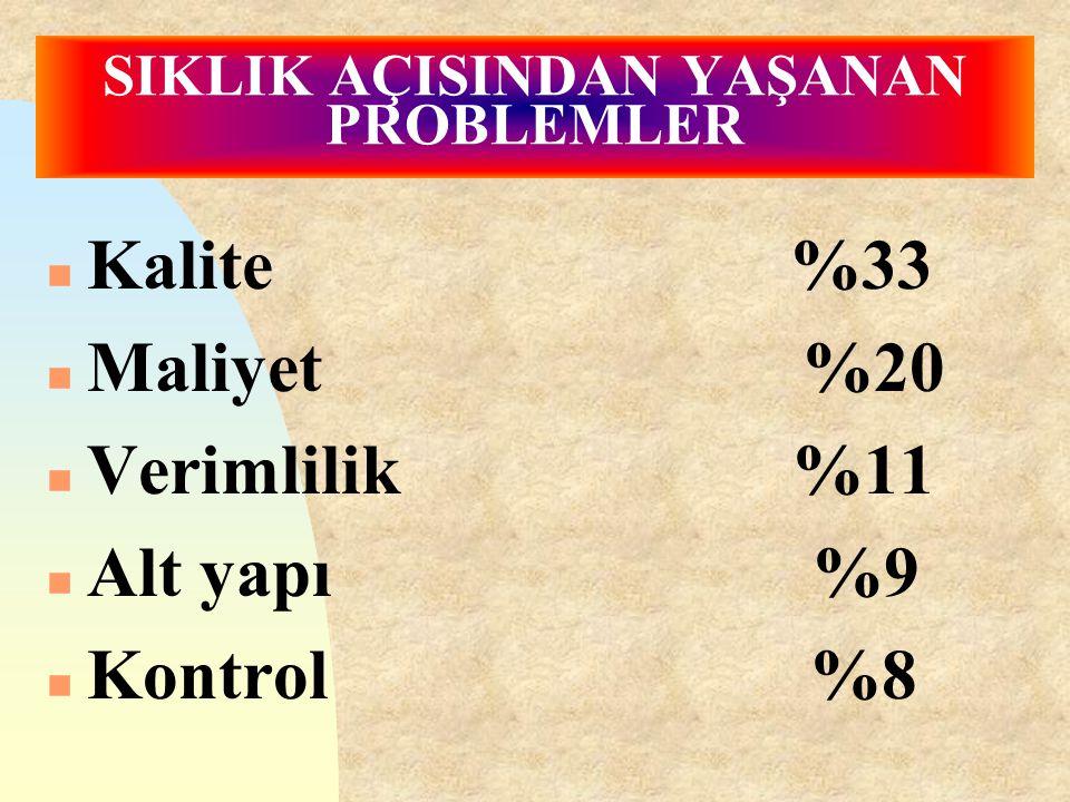 SIKLIK AÇISINDAN YAŞANAN PROBLEMLER n Kalite %33 n Maliyet %20 n Verimlilik %11 n Alt yapı %9 n Kontrol %8