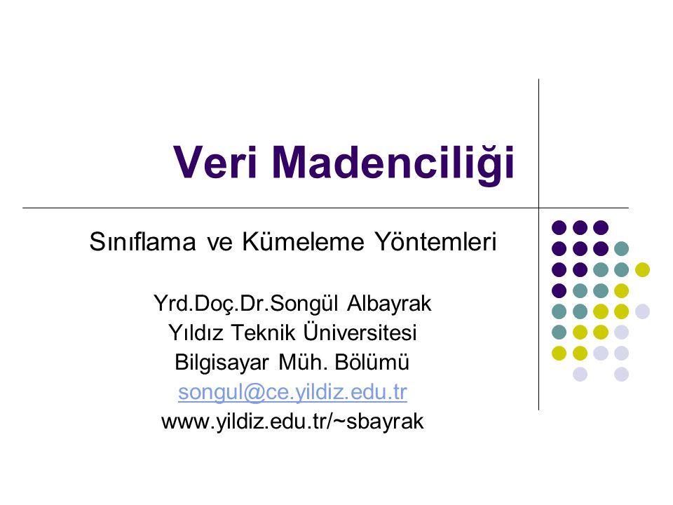 Veri Madenciliği Sınıflama ve Kümeleme Yöntemleri Yrd.Doç.Dr.Songül Albayrak Yıldız Teknik Üniversitesi Bilgisayar Müh. Bölümü songul@ce.yildiz.edu.tr