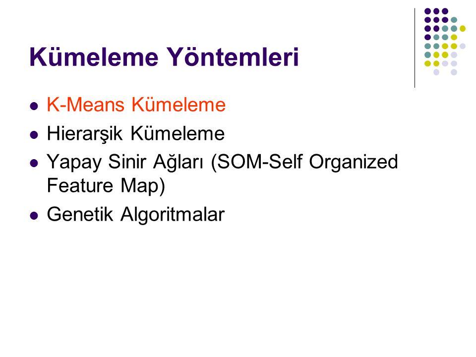 Kümeleme Yöntemleri K-Means Kümeleme Hierarşik Kümeleme Yapay Sinir Ağları (SOM-Self Organized Feature Map) Genetik Algoritmalar