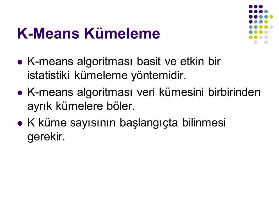 K-Means Kümeleme K-means algoritması basit ve etkin bir istatistiki kümeleme yöntemidir. K-means algoritması veri kümesini birbirinden ayrık kümelere