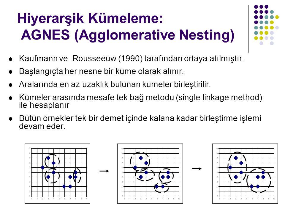 Hiyerarşik Kümeleme: AGNES (Agglomerative Nesting) Kaufmann ve Rousseeuw (1990) tarafından ortaya atılmıştır. Başlangıçta her nesne bir küme olarak al