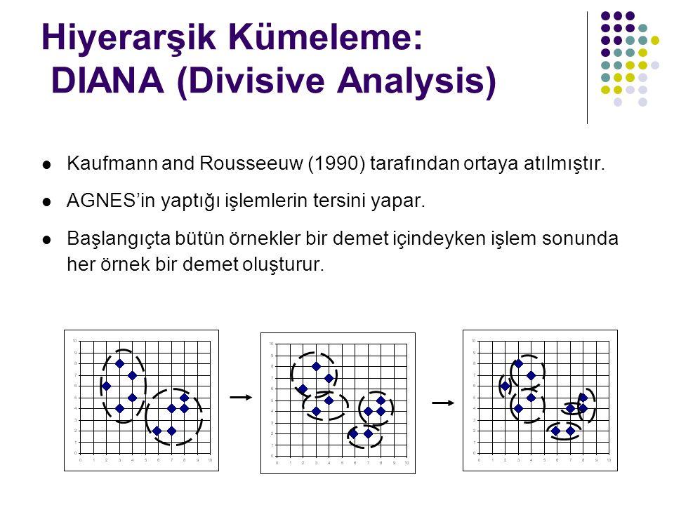 Hiyerarşik Kümeleme: DIANA (Divisive Analysis) Kaufmann and Rousseeuw (1990) tarafından ortaya atılmıştır. AGNES'in yaptığı işlemlerin tersini yapar.