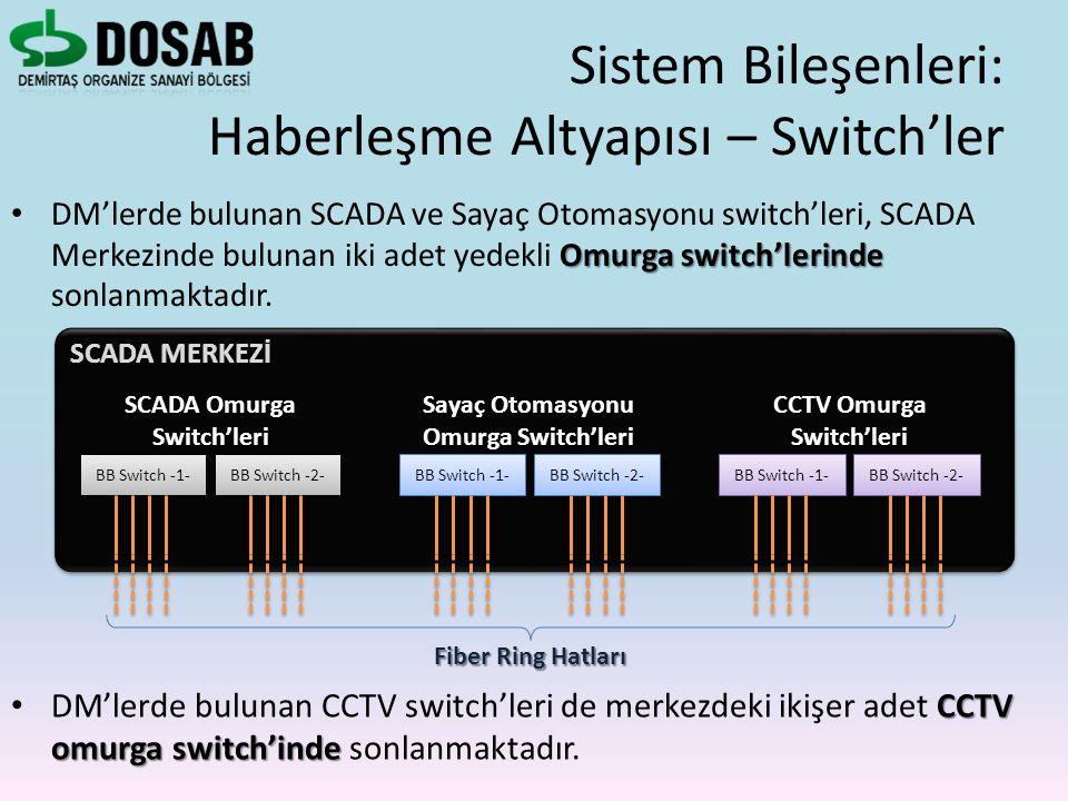 Omurga switch'lerinde DM'lerde bulunan SCADA ve Sayaç Otomasyonu switch'leri, SCADA Merkezinde bulunan iki adet yedekli Omurga switch'lerinde sonlanma