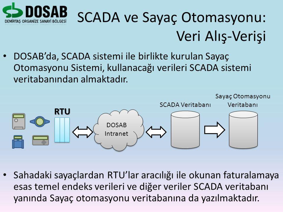 DOSAB'da, SCADA sistemi ile birlikte kurulan Sayaç Otomasyonu Sistemi, kullanacağı verileri SCADA sistemi veritabanından almaktadır. SCADA ve Sayaç Ot