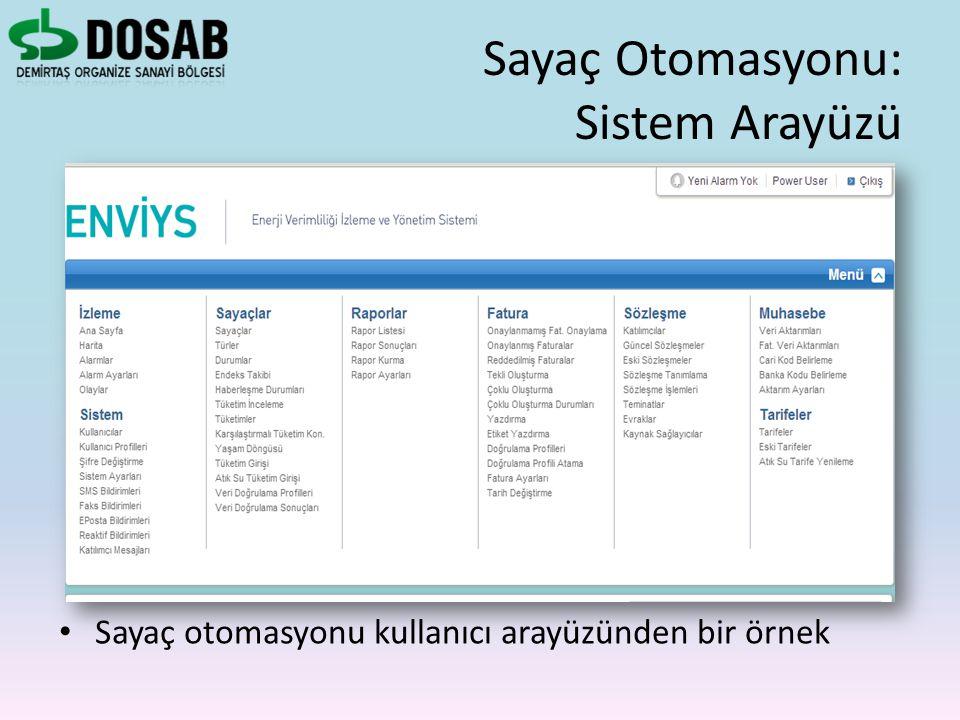 Sayaç otomasyonu kullanıcı arayüzünden bir örnek Sayaç Otomasyonu: Sistem Arayüzü