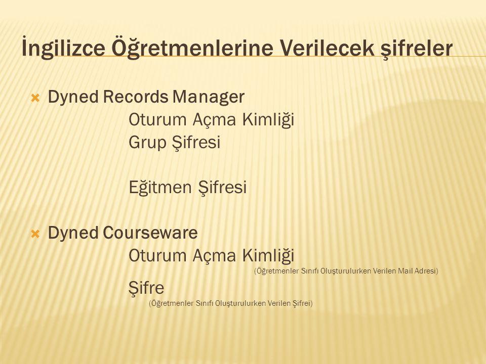 İngilizce Öğretmenlerine Verilecek şifreler  Dyned Records Manager Oturum Açma Kimliği Grup Şifresi Eğitmen Şifresi  Dyned Courseware Oturum Açma Ki