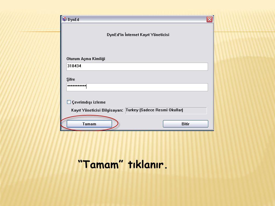 Okulumuzun adının yazılı olduğu bir ekran açılacaktır.