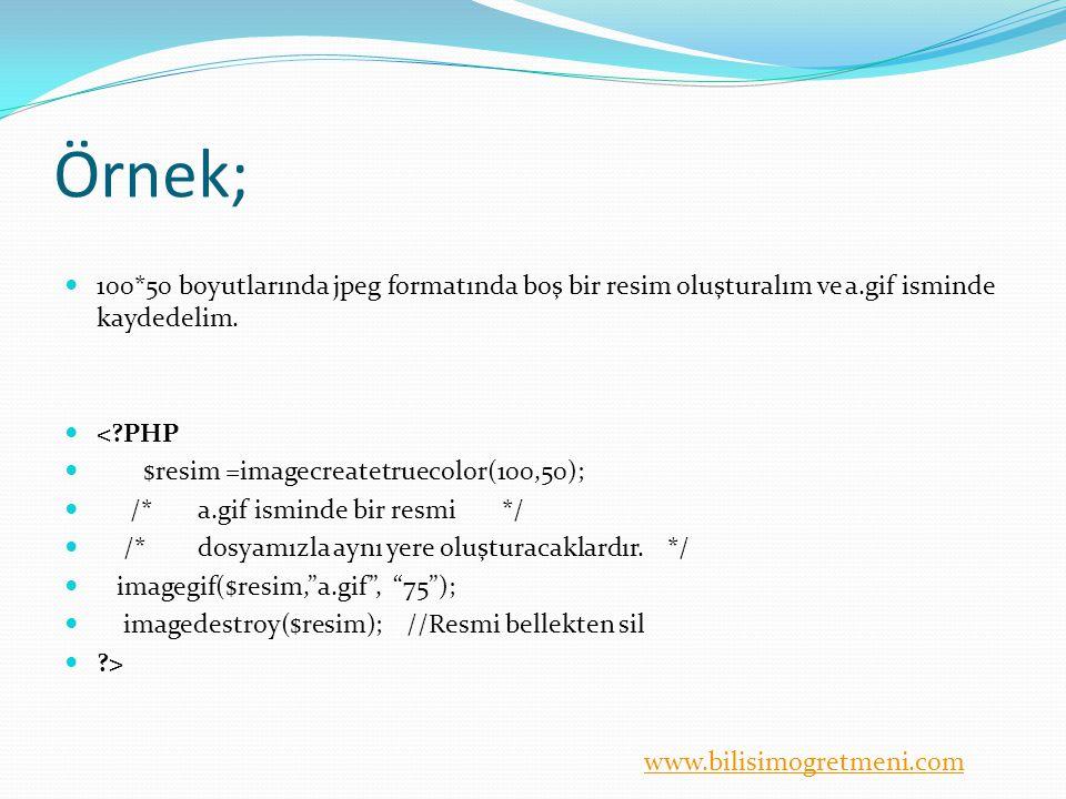 www.bilisimogretmeni.com Örnek; 100*50 boyutlarında jpeg formatında boş bir resim oluşturalım ve a.gif isminde kaydedelim.