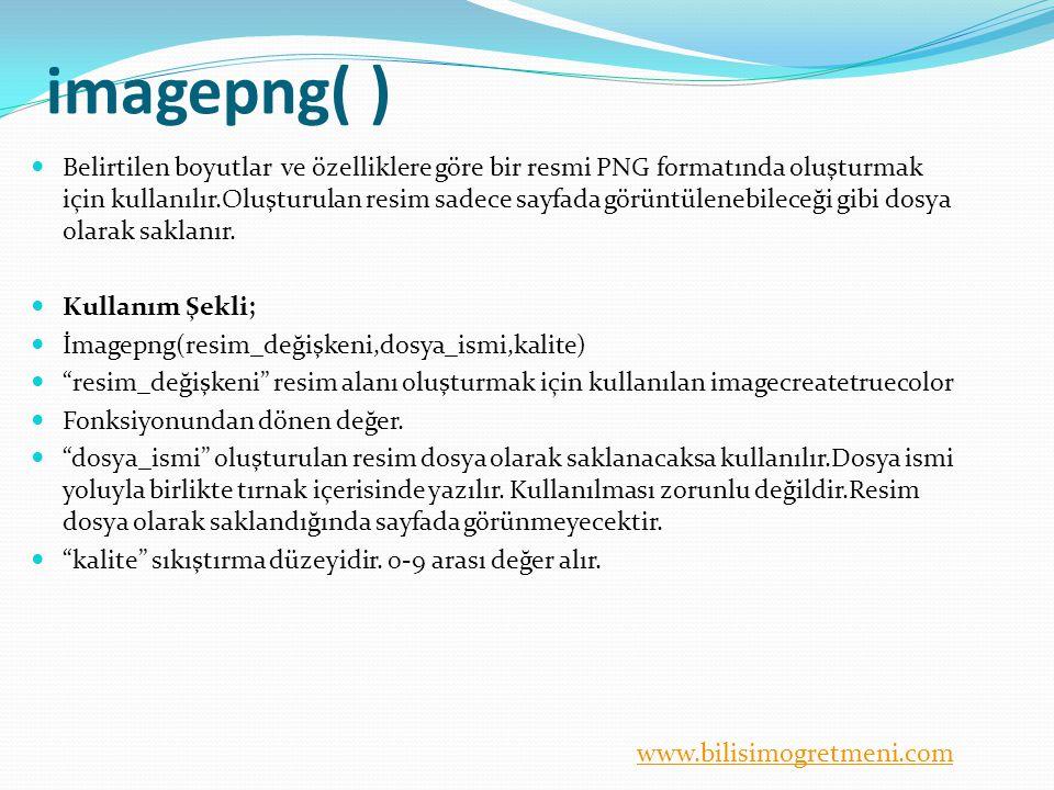 www.bilisimogretmeni.com imagepng( ) Belirtilen boyutlar ve özelliklere göre bir resmi PNG formatında oluşturmak için kullanılır.Oluşturulan resim sadece sayfada görüntülenebileceği gibi dosya olarak saklanır.
