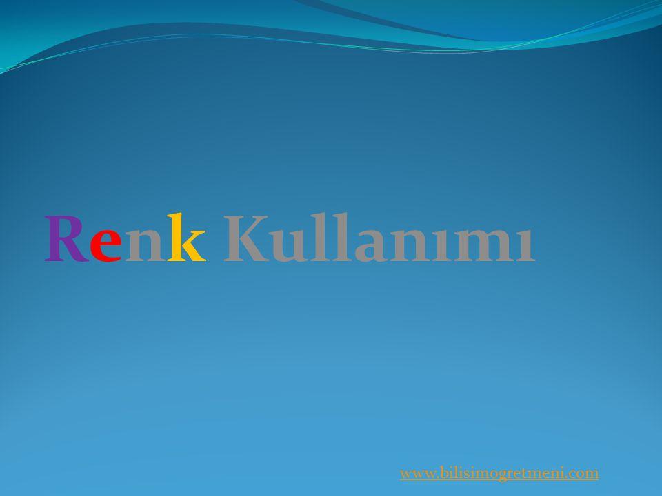 www.bilisimogretmeni.com Renk Kullanımı