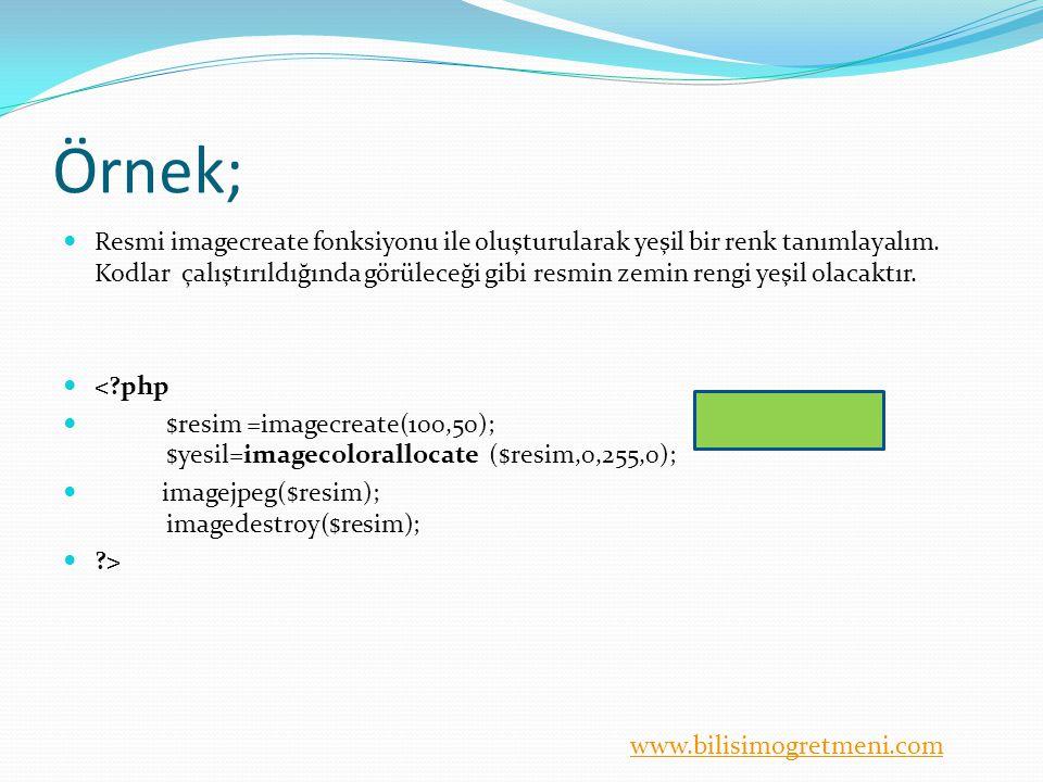 www.bilisimogretmeni.com Örnek; Resmi imagecreate fonksiyonu ile oluşturularak yeşil bir renk tanımlayalım. Kodlar çalıştırıldığında görüleceği gibi r