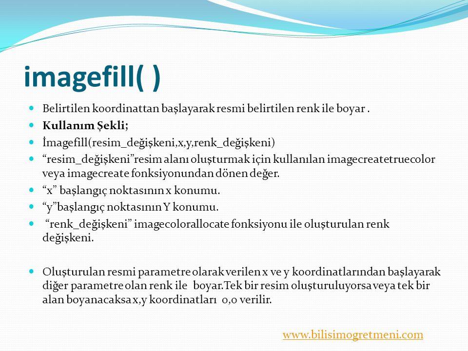 www.bilisimogretmeni.com imagefill( ) Belirtilen koordinattan başlayarak resmi belirtilen renk ile boyar. Kullanım Şekli; İmagefill(resim_değişkeni,x,