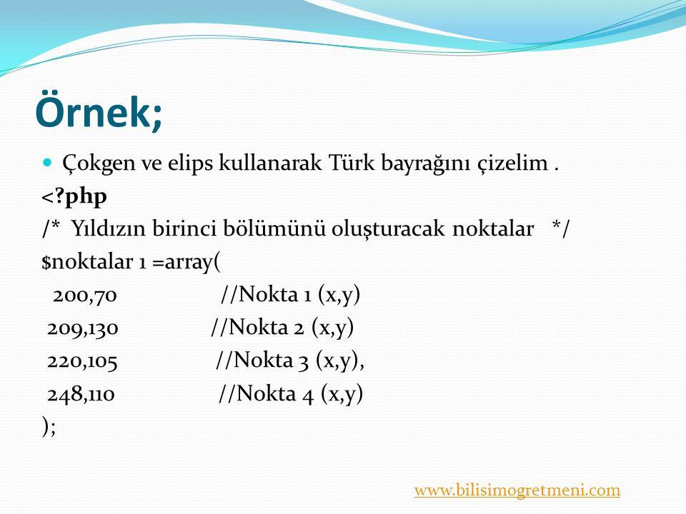 www.bilisimogretmeni.com Örnek; Çokgen ve elips kullanarak Türk bayrağını çizelim. <?php /* Yıldızın birinci bölümünü oluşturacak noktalar */ $noktala