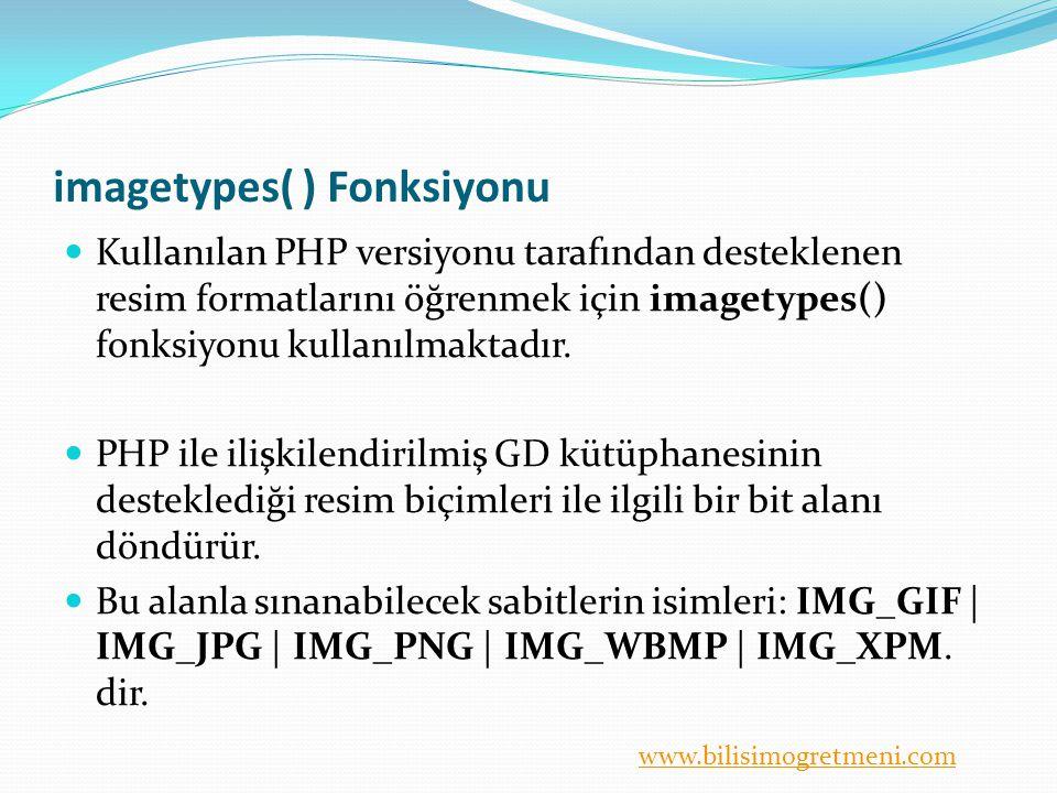 www.bilisimogretmeni.com Örnek Yüklü olan PHP'nin desteklediği resim formatlarını belirleyelim.