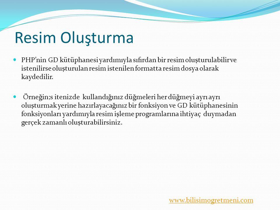 www.bilisimogretmeni.com imagestring( ) Yatay olarak grafik tabanlı yazı yazdırmak için kullanılır.