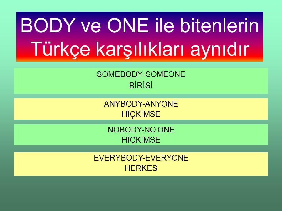 SOMEBODY-SOMEONE BİRİSİ ANYBODY-ANYONE HİÇKİMSE NOBODY-NO ONE HİÇKİMSE EVERYBODY-EVERYONE HERKES BODY ve ONE ile bitenlerin Türkçe karşılıkları aynıdır