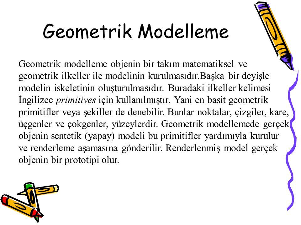 Geometrik Modelleme Geometrik modelleme objenin bir takım matematiksel ve geometrik ilkeller ile modelinin kurulmasıdır.Başka bir deyişle modelin iske