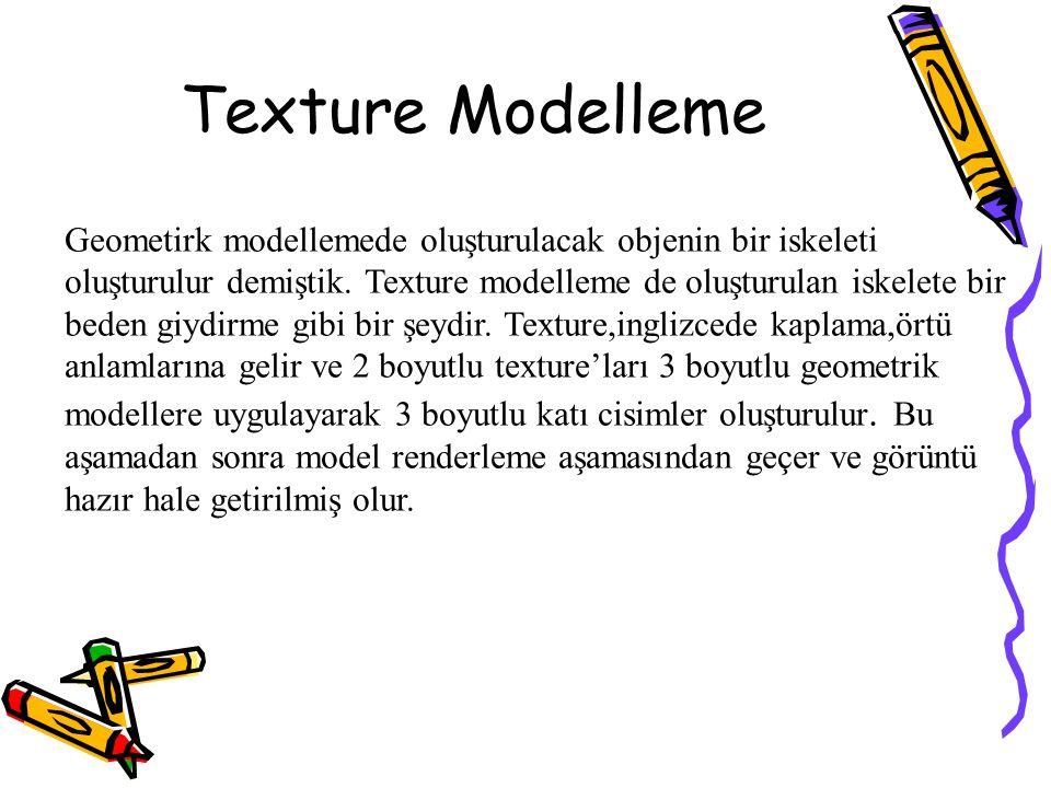 Texture Modelleme Geometirk modellemede oluşturulacak objenin bir iskeleti oluşturulur demiştik. Texture modelleme de oluşturulan iskelete bir beden g
