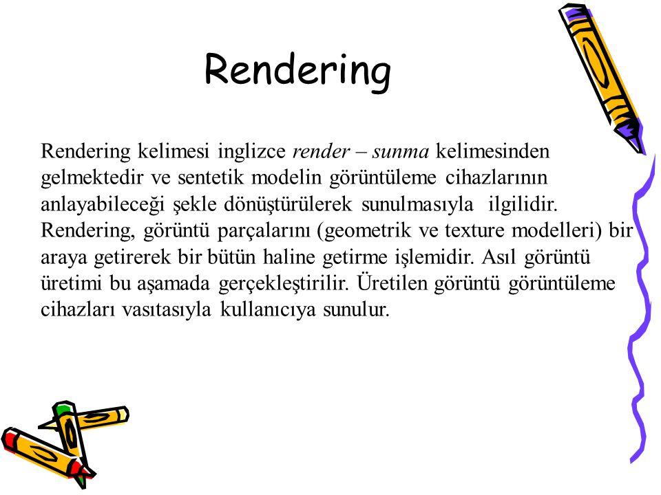 Rendering Rendering kelimesi inglizce render – sunma kelimesinden gelmektedir ve sentetik modelin görüntüleme cihazlarının anlayabileceği şekle dönüşt