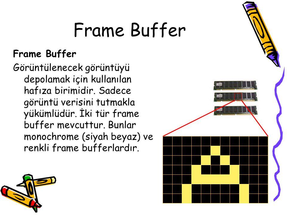 Frame Buffer Görüntülenecek görüntüyü depolamak için kullanılan hafıza birimidir. Sadece görüntü verisini tutmakla yükümlüdür. İki tür frame buffer me