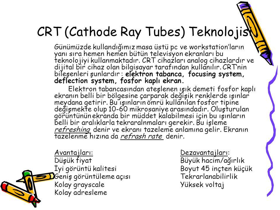 CRT (Cathode Ray Tubes) Teknolojisi Günümüzde kullandığımız masa üstü pc ve workstation'ların yanı sıra hemen hemen bütün televisyon ekranları bu tekn