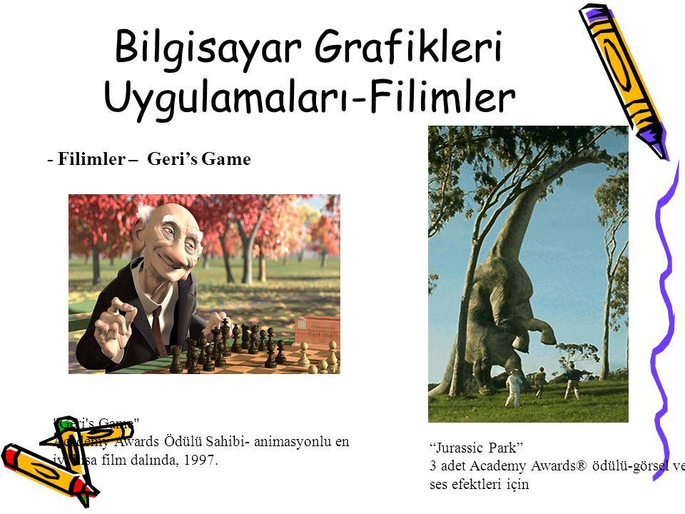 """Bilgisayar Grafikleri Uygulamaları-Filimler - Filimler – Geri's Game """"Jurassic Park"""" 3 adet Academy Awards® ödülü-görsel ve ses efektleri için"""
