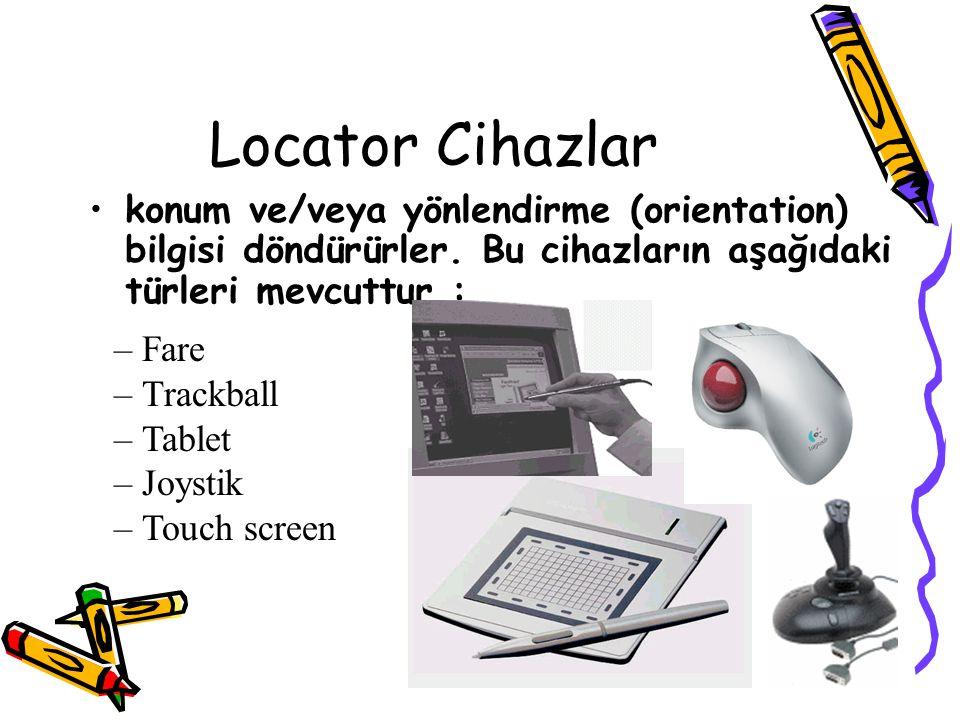 Locator Cihazlar konum ve/veya yönlendirme (orientation) bilgisi döndürürler. Bu cihazların aşağıdaki türleri mevcuttur : – Fare – Trackball – Tablet