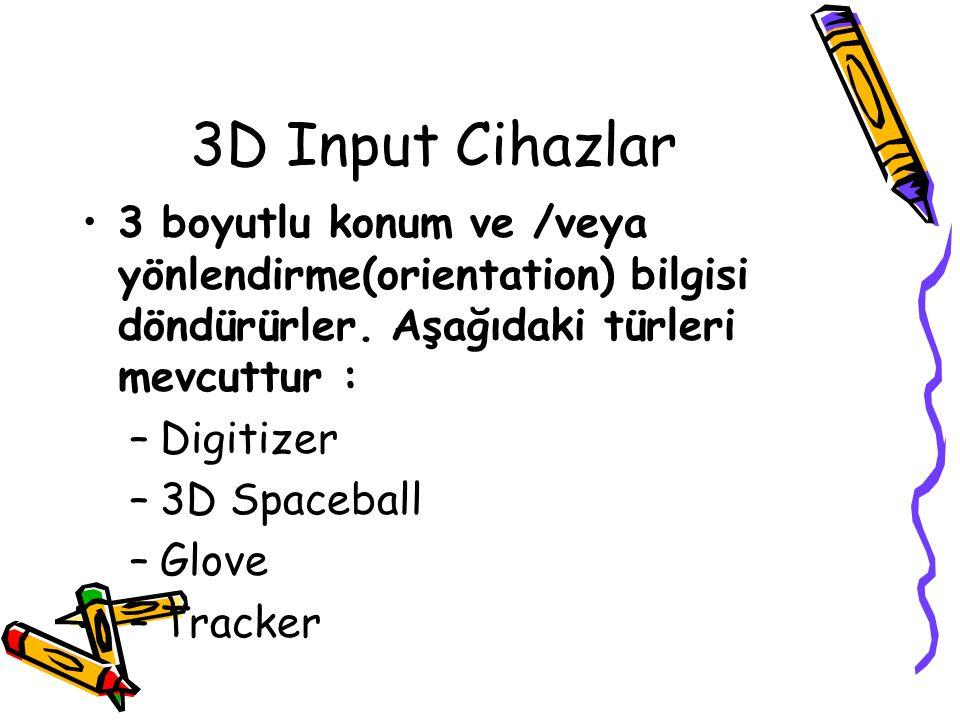 3D Input Cihazlar 3 boyutlu konum ve /veya yönlendirme(orientation) bilgisi döndürürler. Aşağıdaki türleri mevcuttur : –Digitizer –3D Spaceball –Glove