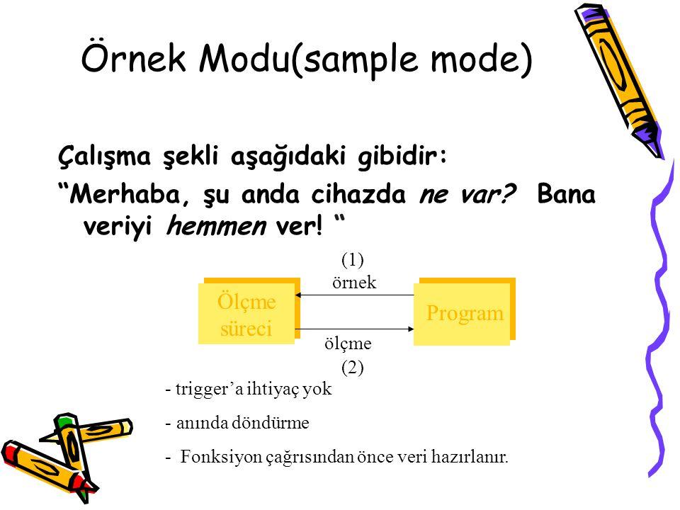 """Örnek Modu(sample mode) Çalışma şekli aşağıdaki gibidir: """"Merhaba, şu anda cihazda ne var? Bana veriyi hemmen ver! """" Ölçme süreci Program örnek (1) öl"""