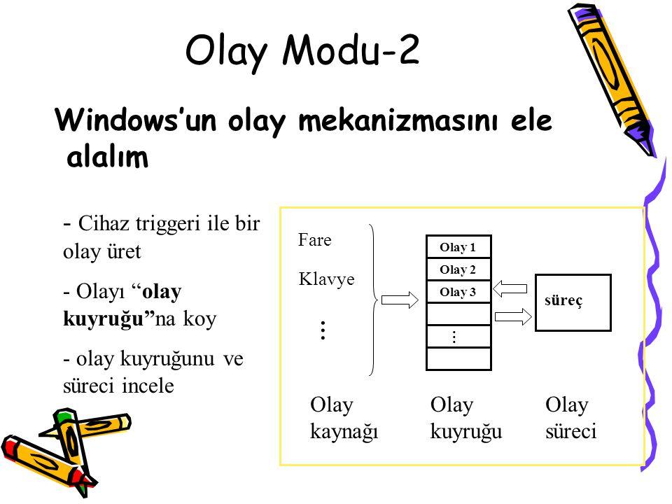 """Olay Modu-2 Windows'un olay mekanizmasını ele alalım - Cihaz triggeri ile bir olay üret - Olayı """"olay kuyruğu""""na koy - olay kuyruğunu ve süreci incele"""