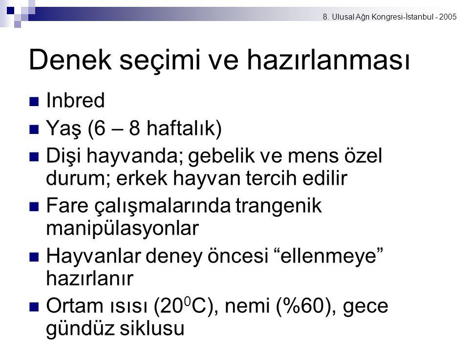 8. Ulusal Ağrı Kongresi-İstanbul - 2005 Denek seçimi ve hazırlanması Inbred Yaş (6 – 8 haftalık) Dişi hayvanda; gebelik ve mens özel durum; erkek hayv
