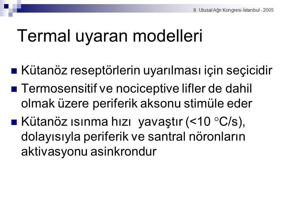 8. Ulusal Ağrı Kongresi-İstanbul - 2005 Termal uyaran modelleri Kütanöz reseptörlerin uyarılması için seçicidir Termosensitif ve nociceptive lifler de
