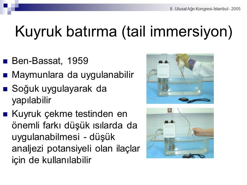 8. Ulusal Ağrı Kongresi-İstanbul - 2005 Kuyruk batırma (tail immersiyon) Ben-Bassat, 1959 Maymunlara da uygulanabilir Soğuk uygulayarak da yapılabilir