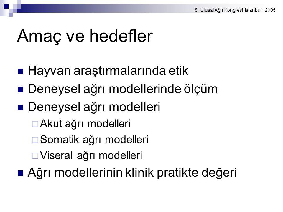 8. Ulusal Ağrı Kongresi-İstanbul - 2005 Amaç ve hedefler Hayvan araştırmalarında etik Deneysel ağrı modellerinde ölçüm Deneysel ağrı modelleri  Akut