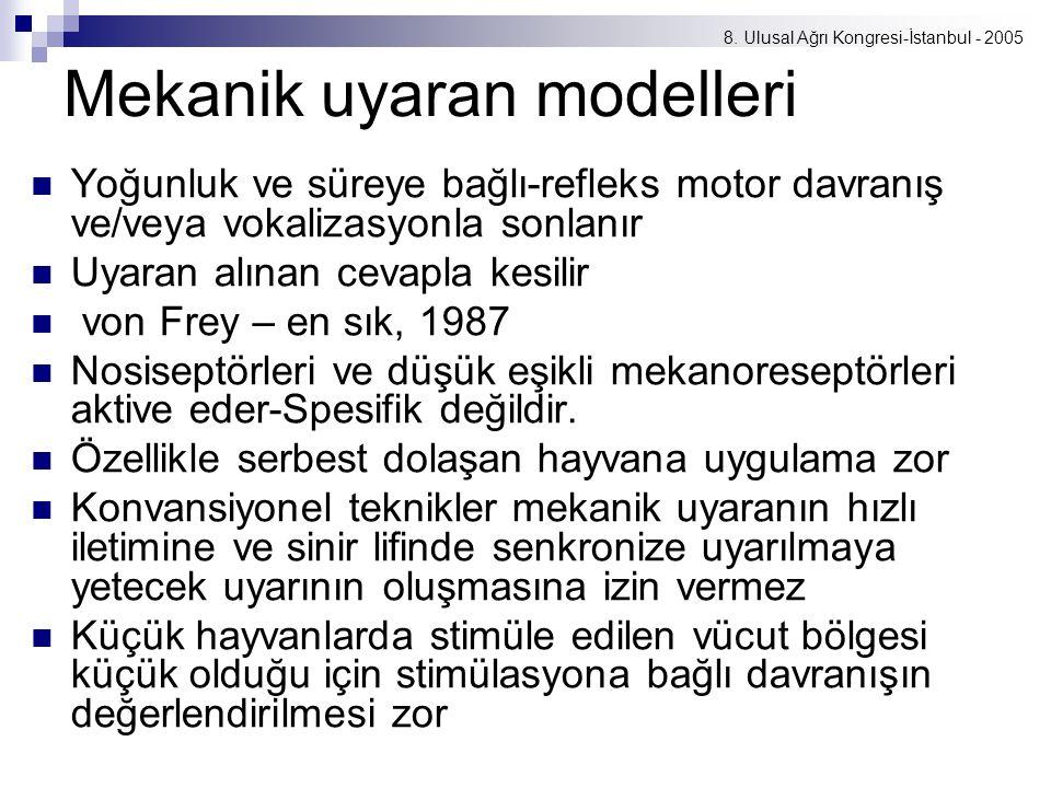 8. Ulusal Ağrı Kongresi-İstanbul - 2005 Mekanik uyaran modelleri Yoğunluk ve süreye bağlı-refleks motor davranış ve/veya vokalizasyonla sonlanır Uyara